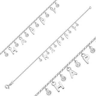 """Náramok zo striebra 925 - písmenka vytvárajúce nápis """"HAPPY"""", okrúhle číre zirkóny"""