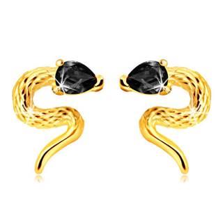 Puzetové náušnice zo žltého 9K zlata - zatočený hadík so zirkónovou hlavičkou čiernej farby