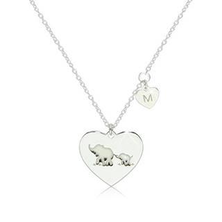 """Strieborný 925 náhrdelník - dve lesklé symetrické srdiečka so sloníkmi a písmenom """"M"""""""