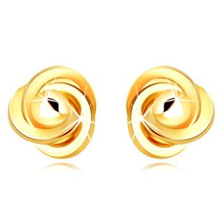 Zlaté náušnice 585 - tri prepletené prstence s hladkou guľôčkou uprostred, puzetky