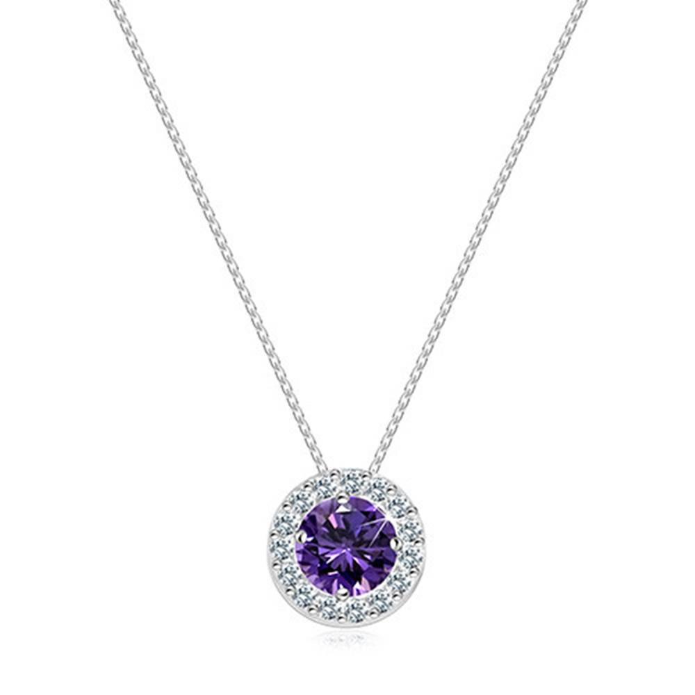 Šperky eshop Náhrdelník v bielom 14K zlate - ligotavý fialový zirkón uprostred okrúhlej zirkónovej kontúry