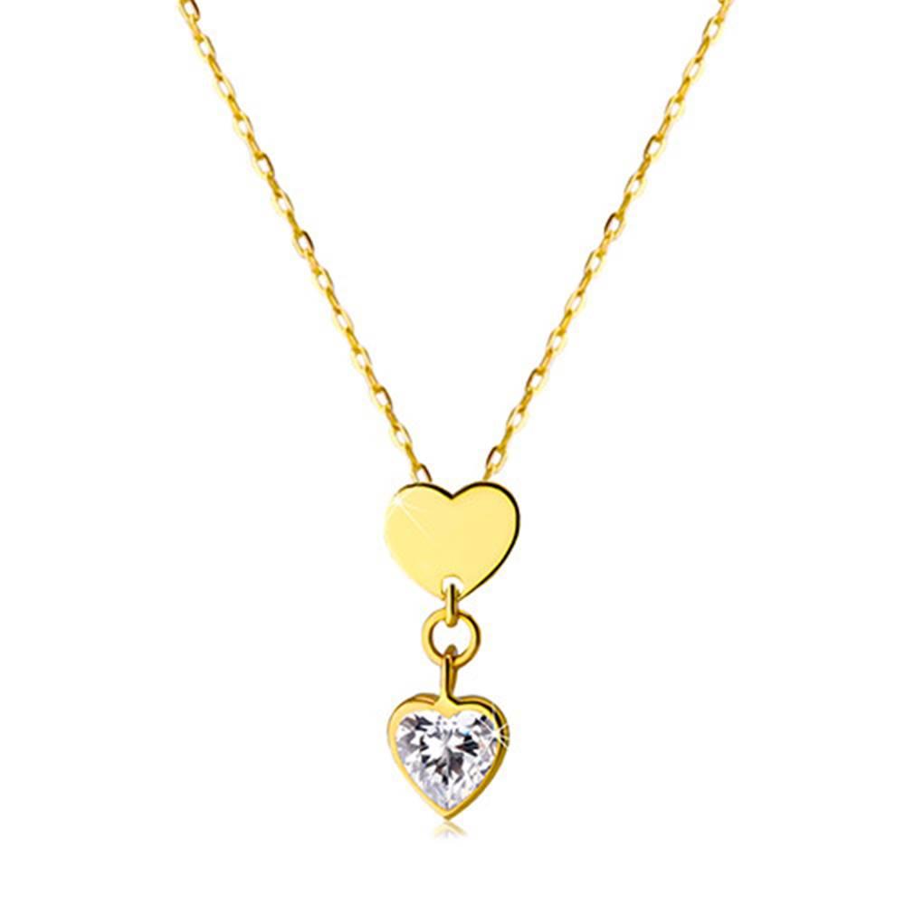 Šperky eshop Náhrdelník v žltom 14K zlate - lesklé symetrické srdiečko a číre zirkónové srdiečko
