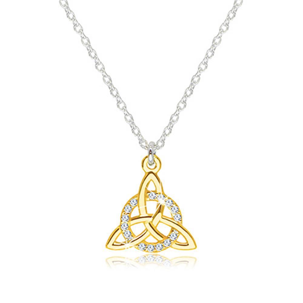 Šperky eshop Náhrdelník zo striebra 925 - keltský symbol Triquetra v zlatej farbe so zirkónovým kruhom