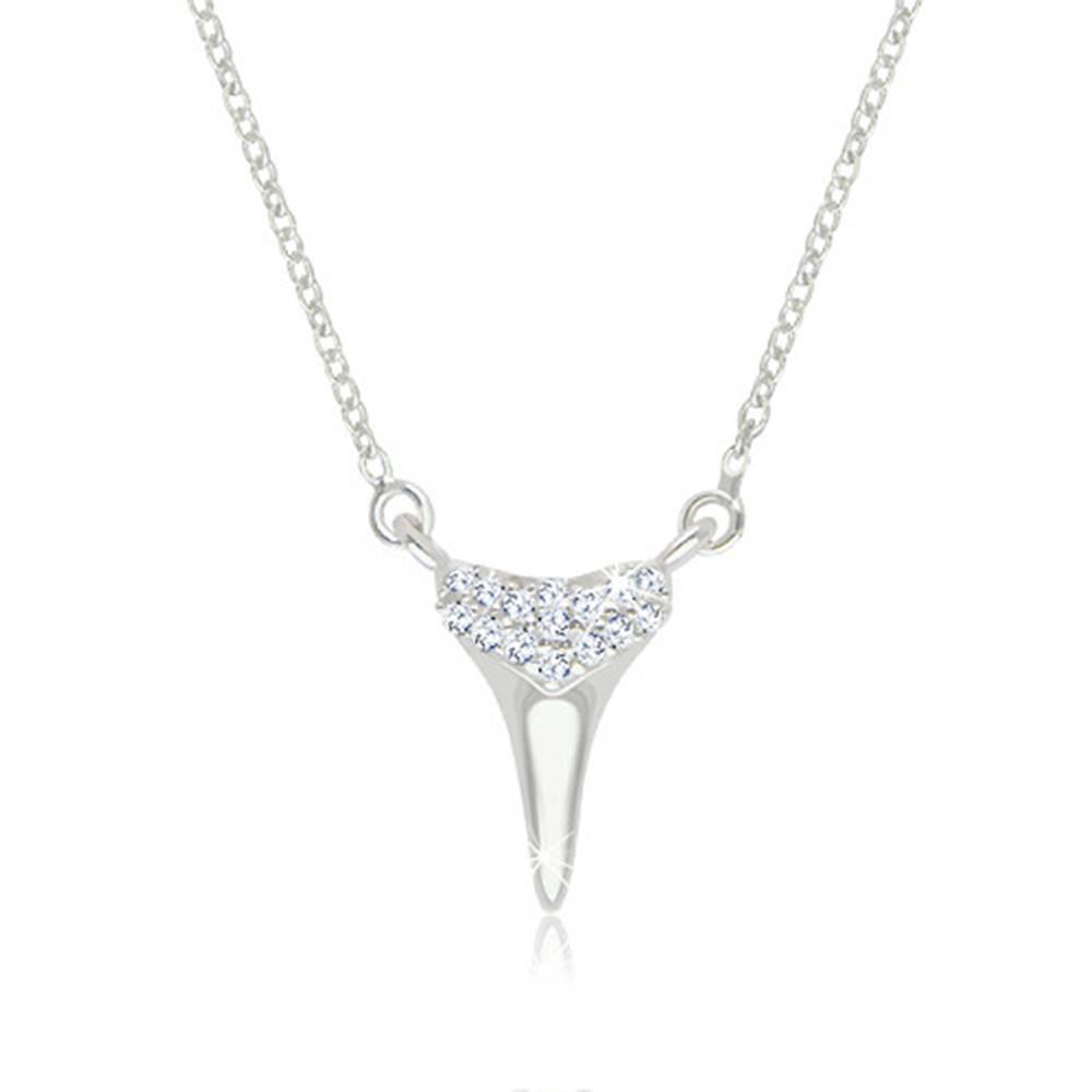 Šperky eshop Náhrdelník zo striebra 925 - silueta žraločieho zubu ozdobená ligotavými zirkónikmi