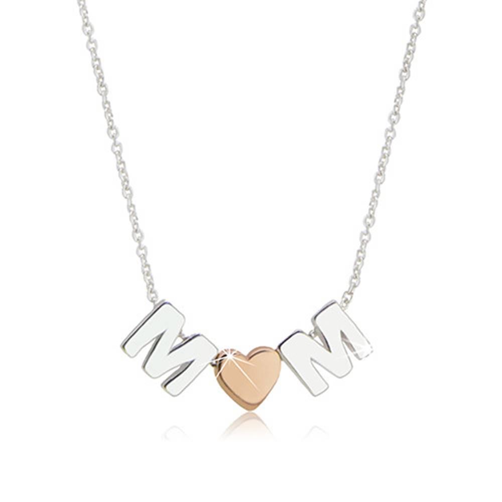 """Šperky eshop Ródiovaný strieborný náhrdelník 925 - motív """"MOM"""" tvorený písmenami """"M"""" a srdiečkom"""