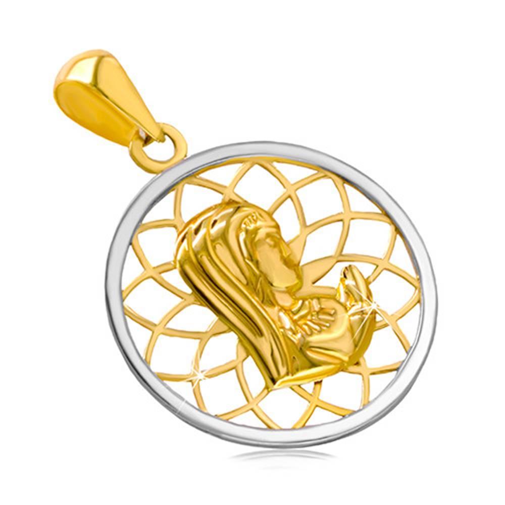 Šperky eshop Ródiovaný zlatý 14K prívesok - kontúra kruhu s Pannou Máriou uprostred