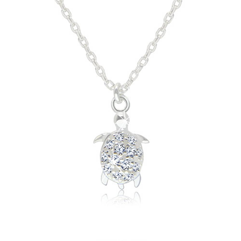 Šperky eshop Strieborný 925 náhrdelník - lesklá korytnačka s trblietavým zirkónovým pancierom