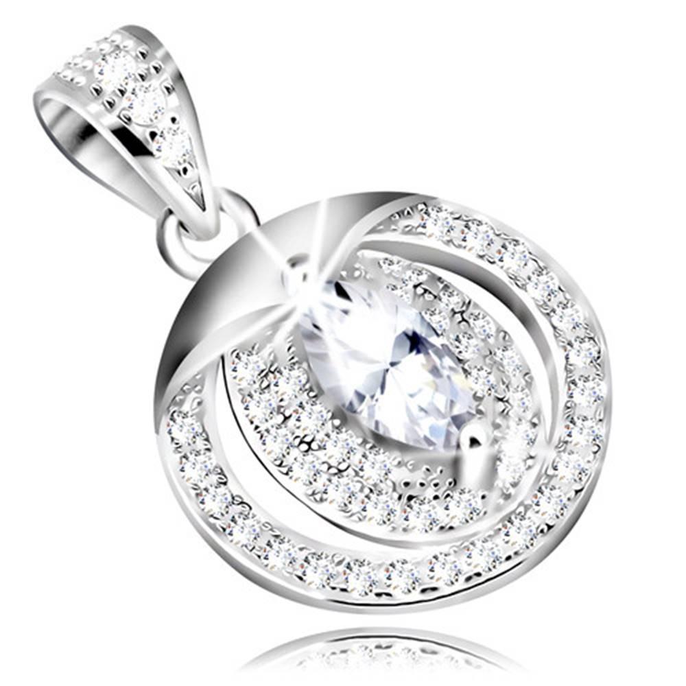 Šperky eshop Strieborný 925 prívesok - číre zirkónové zrniečko, dvojitá línia so zirkónikmi