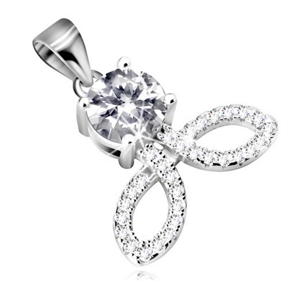 Šperky eshop Strieborný 925 prívesok - okrúhly zirkón v čírom odtieni, ligotavé obrysy zrniek