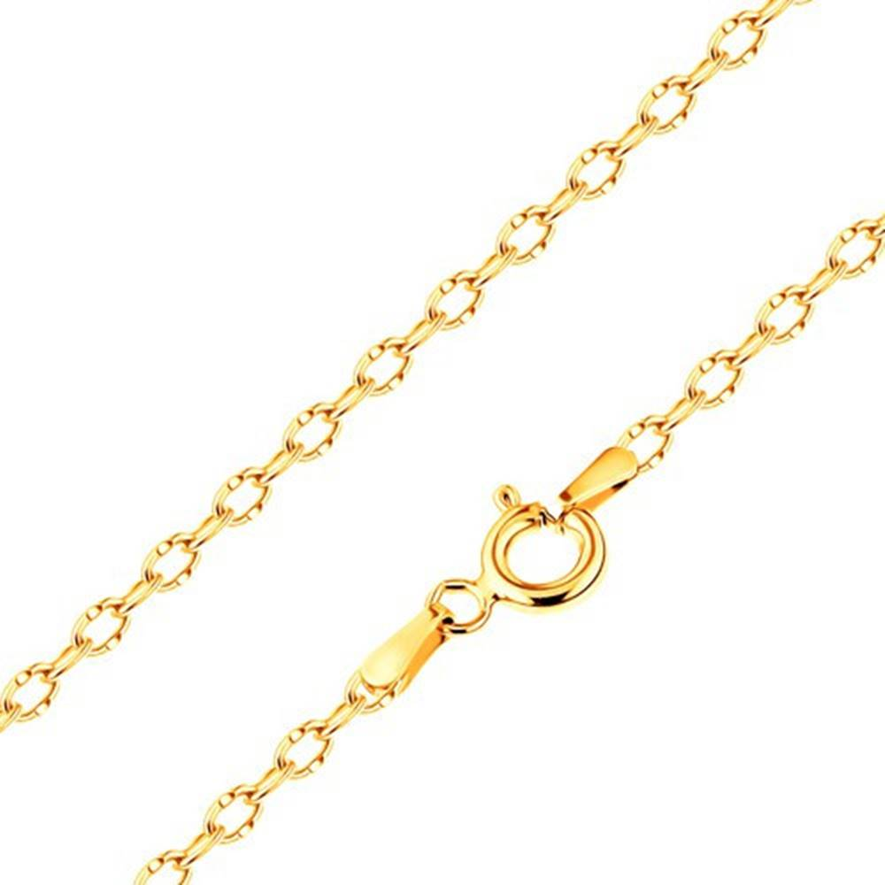 Šperky eshop Zlatá 585 retiazka - lesklé oválne očká so zárezmi uprostred, 600 mm