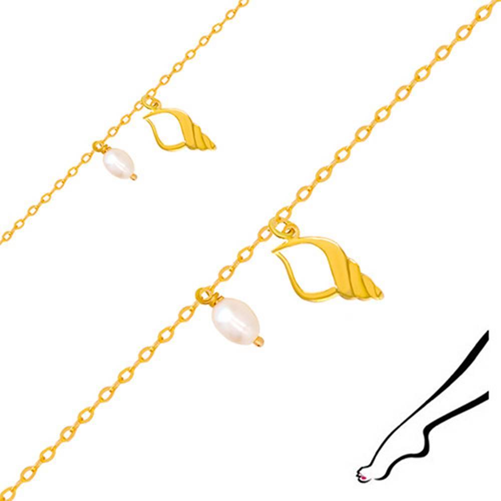 Šperky eshop Zlatý náramok na nohu 375 - kontúra mušle s výrezom, dve biele perly