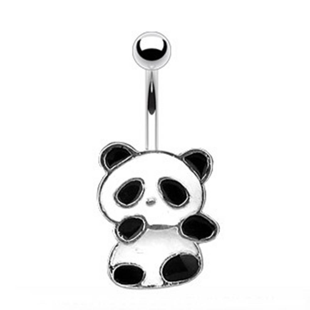 Šperky eshop Oceľový piercing do pupku - panda s bielou a čiernou glazúrou