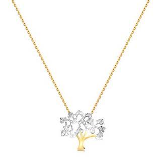 Náhrdelník v 9K zlate - jemná retiazka, ligotavý dvojfarebný strom života