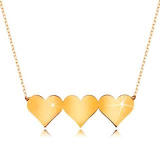 Náhrdelník v žltom 9K zlate - tri súmerné ploché srdiečka, jemná retiazka