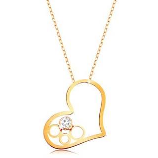 Zlatý 9K náhrdelník - tenká retiazka, kontúra srdca s kruhmi a čírym zirkónom