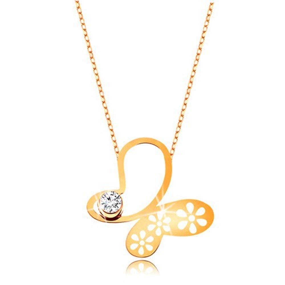 Šperky eshop Náhrdelník v žltom 9K zlate - asymetrický motýľ s kvietkami, jemná retiazka