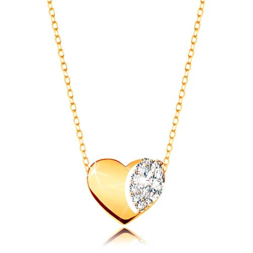 Šperky eshop Náhrdelník v žltom 9K zlate - jemná retiazka, lesklé srdce s čírymi zirkónmi