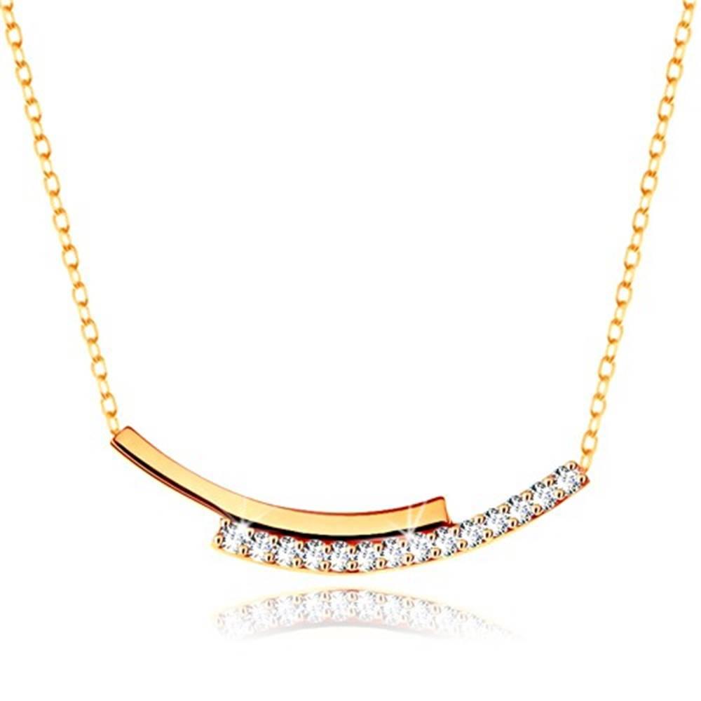 Šperky eshop Náhrdelník zo žltého zlata 375 - zirkónový a hladký oblúk, retiazka z drobných očiek