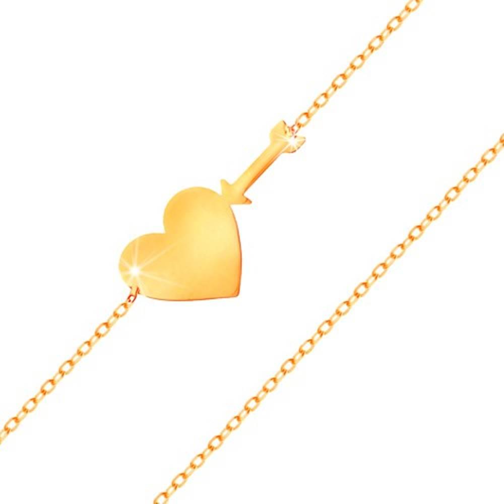 Šperky eshop Náramok v žltom zlate 585 - tenká ligotavá retiazka, lesklé ploché srdce a šíp