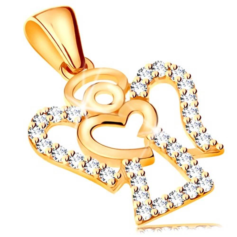 Šperky eshop Prívesok zo žltého 14K zlata - zirkónový obrys anjela, lesklé srdiečko