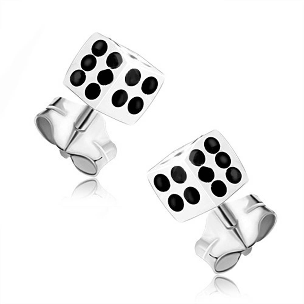 Šperky eshop Strieborné 925 náušnice, biela hracia kocka s čiernymi bodkami