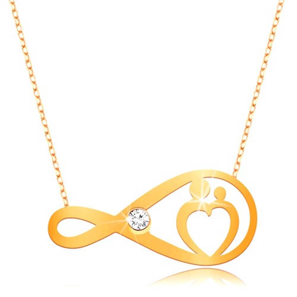 Šperky eshop Zlatý náhrdelník 375 - jemná retiazka, symbol nekonečna s čírym zirkónom a srdcom
