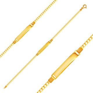 Náramok zo žltého zlata 585 - ploché očká a lesklá platnička, 180 mm