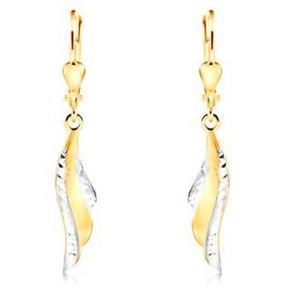 Náušnice v 14K zlate - krídlo anjela s drobnými zárezmi a bielym zlatom