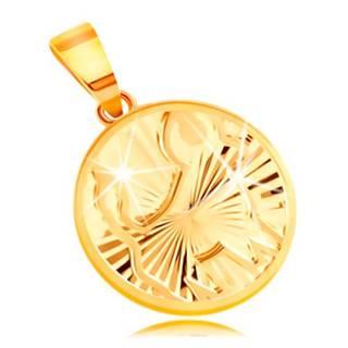Okrúhly prívesok v 14K žltom zlate - ligotavé lúčovité ryhy, znamenie BÝK