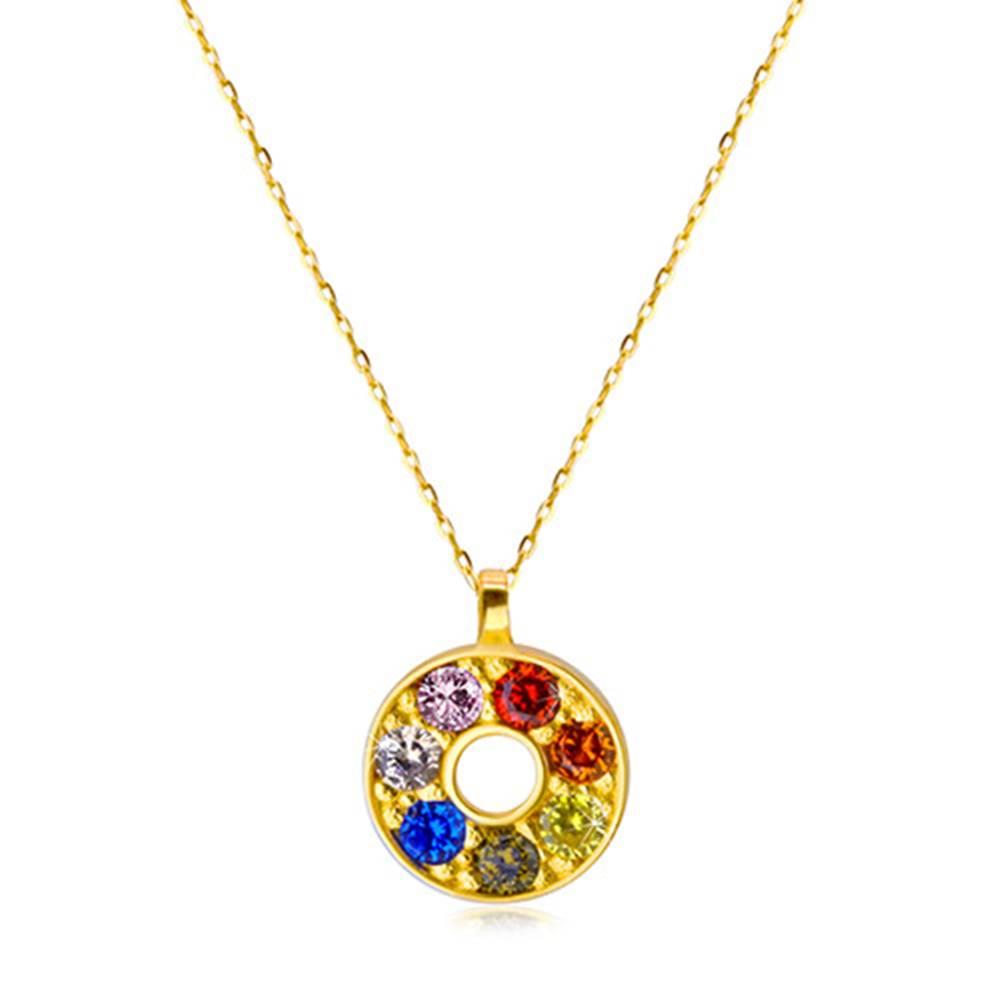 Šperky eshop Náhrdelník zo žltého 585 zlata - obrys kruhu s vykladanými zirkónikmi a výrezom v strede