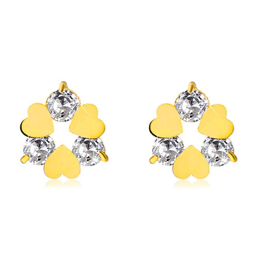 Šperky eshop Náušnice v žltom 14K zlate - kvietok so srdiečkovými a čírymi zirkónovými lupeňmi