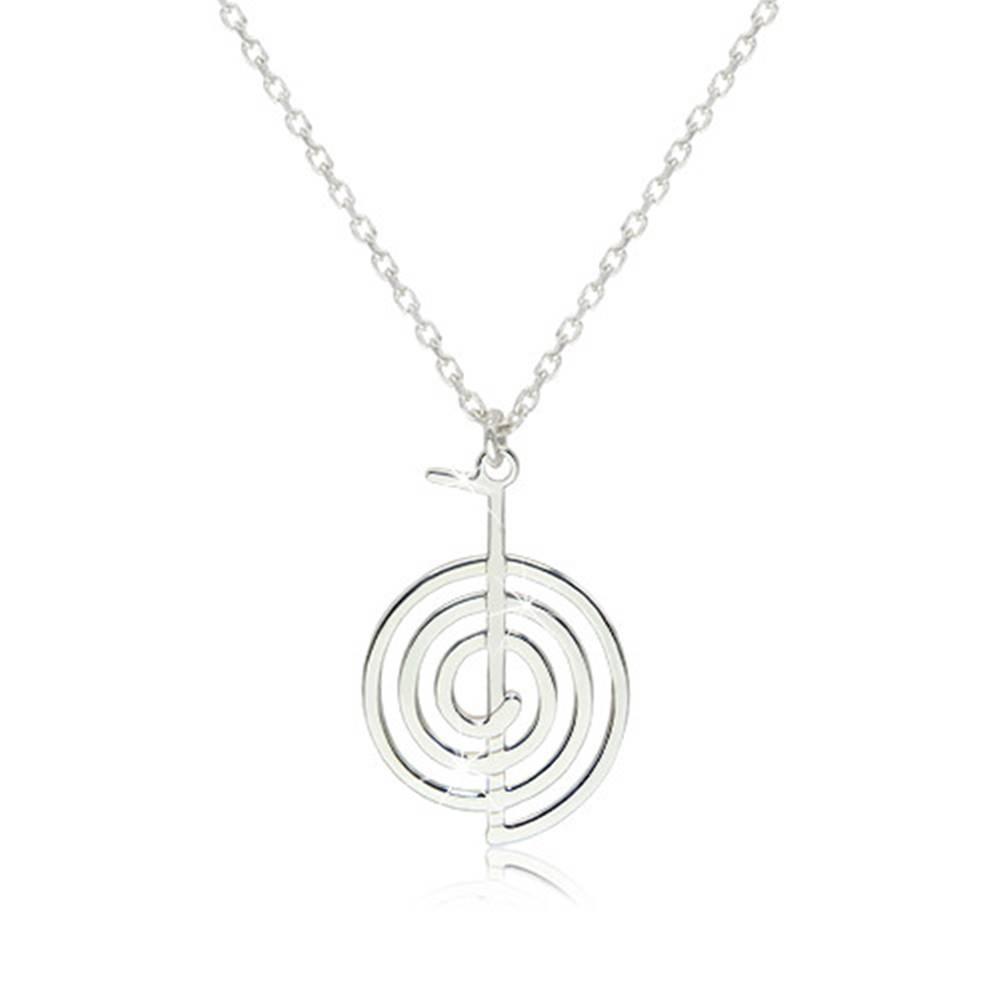Šperky eshop Strieborný 925 náhrdelník - lesklý a hladký symbol Cho-Ku-Rei
