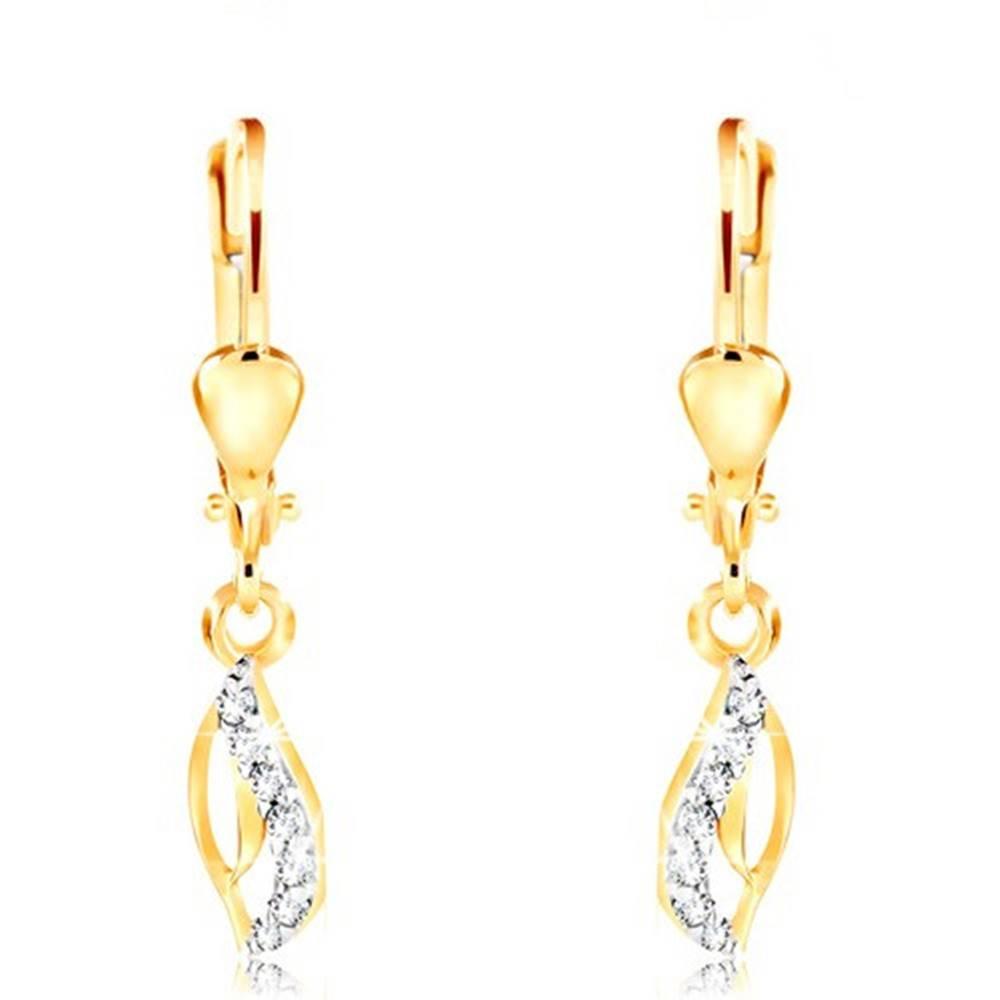 Šperky eshop Zlaté 14K náušnice - tenký obrys slzy, zvlnená číra zirkónová línia