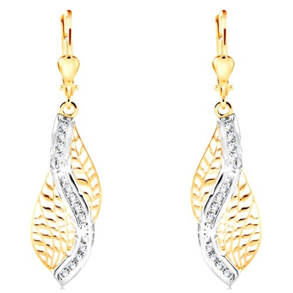 Šperky eshop Zlaté 14K náušnice - vyrezávaný list s vlnkou z bieleho zlata a čírych zirkónov