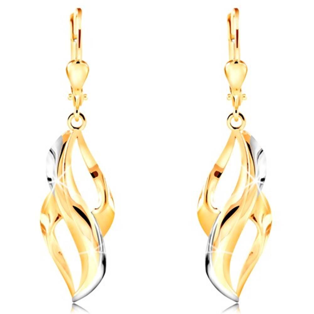 Šperky eshop Zlaté náušnice 585 - zvlnený list s pásmi z bieleho zlata a dvomi výrezmi