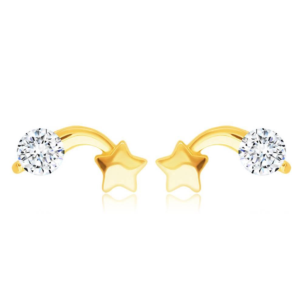 Šperky eshop Lesklé zlaté 585 náušnice - kométa s okrúhlym zirkónom čírej farby