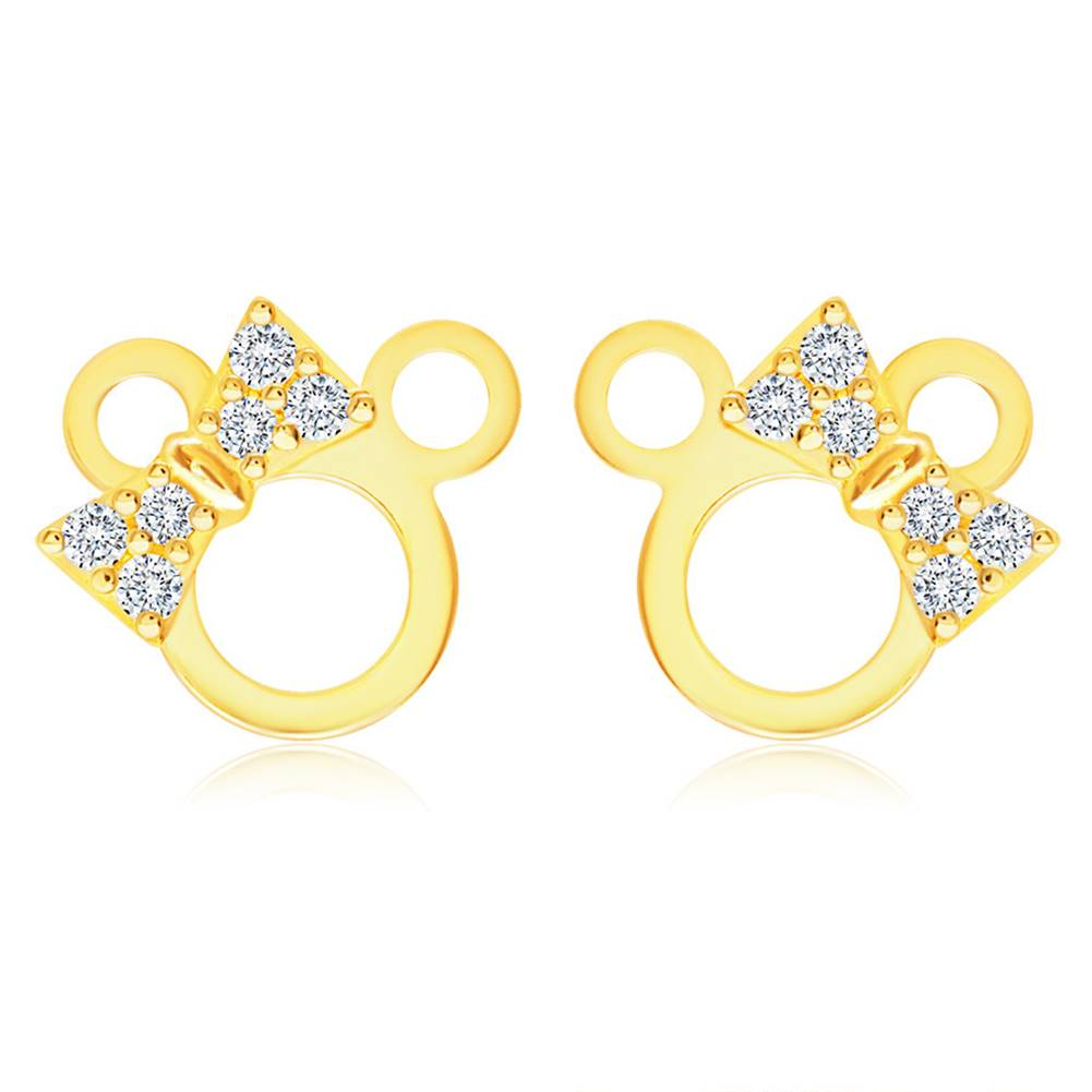 Šperky eshop Zlaté náušnice 585 - kontúra myšičky so zirkónovou mašľou na hlave