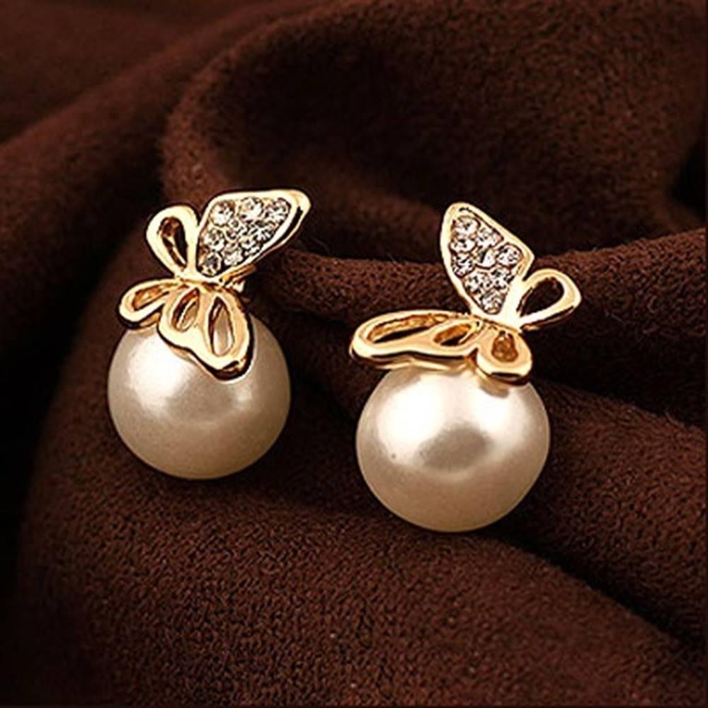 Izmael Náušnice Pearl Butterfly-Zlatá