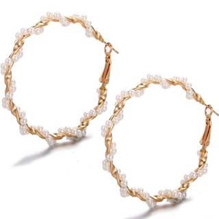 Náušnice Pearl Nia-Zlatá/Biela