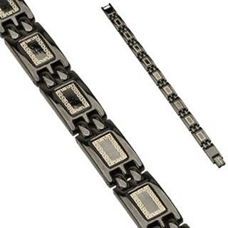 Náramok z ocele v čiernom farebnom prevedení - lesklé články s ornamentmi