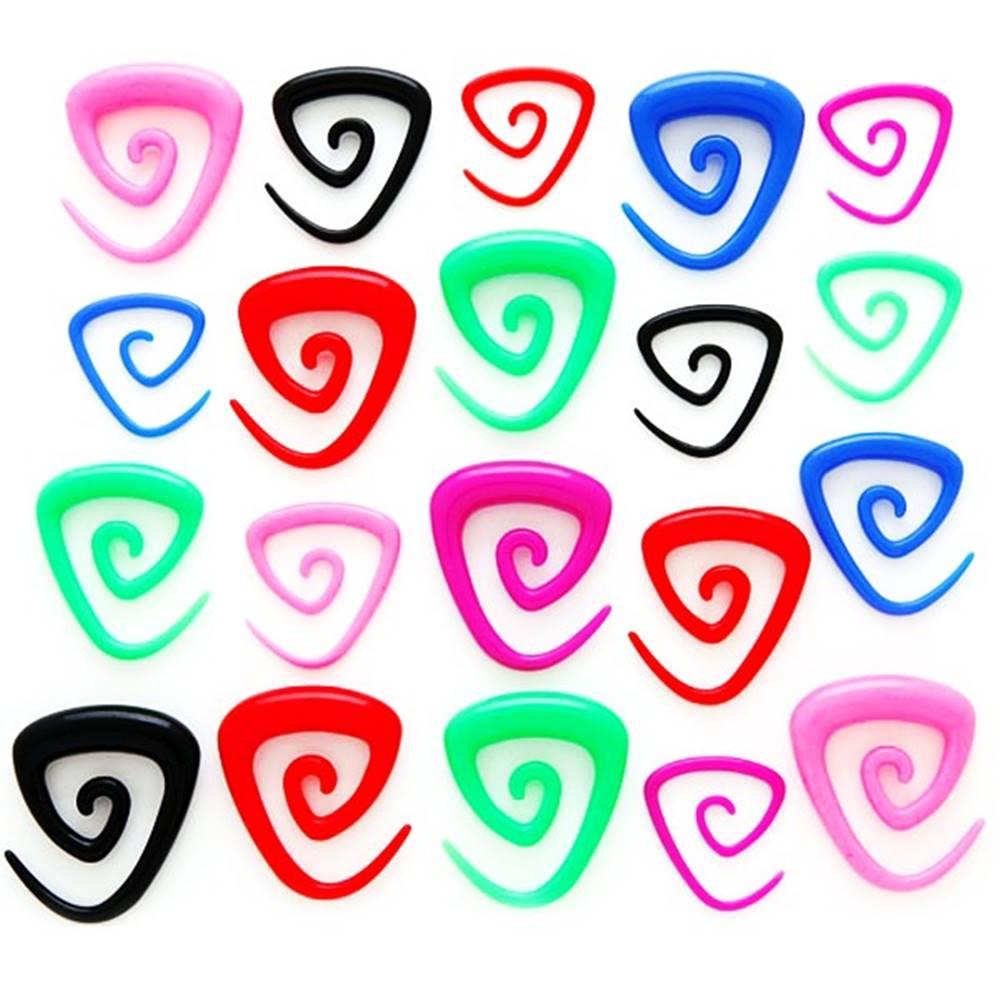 Šperky eshop Expander do ucha - trojuholníková špirálka - Hrúbka: 2,5 mm, Farba piercing: Modrá