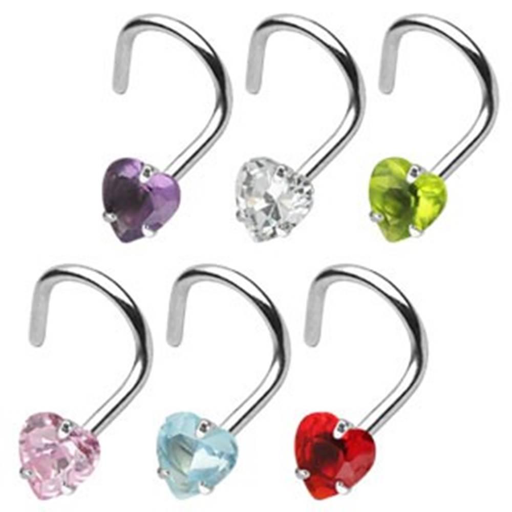 Šperky eshop Piercing do nosa zahnutý so srdiečkom - Rozmer: 0,8 mm x 6 mm x 3 mm, Farba piercing: Aqua