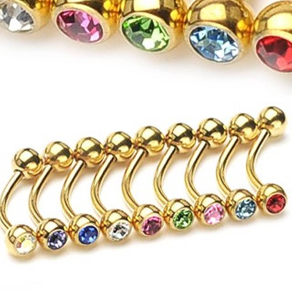 Šperky eshop Piercing do obočia - zlatá farba so zirkónikmi - Rozmer: 1,2 mm x 10 mm x 4 mm, Farba zirkónu: Svetlo zelená - G