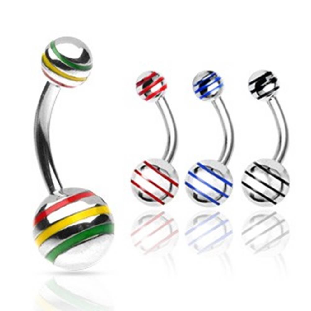 Šperky eshop Piercing do pupka gulička s farebnými pásikmi - Rozmer: 10 mm x 8 mm, Farba zirkónu: Červená - Žltá - Zelená - JM