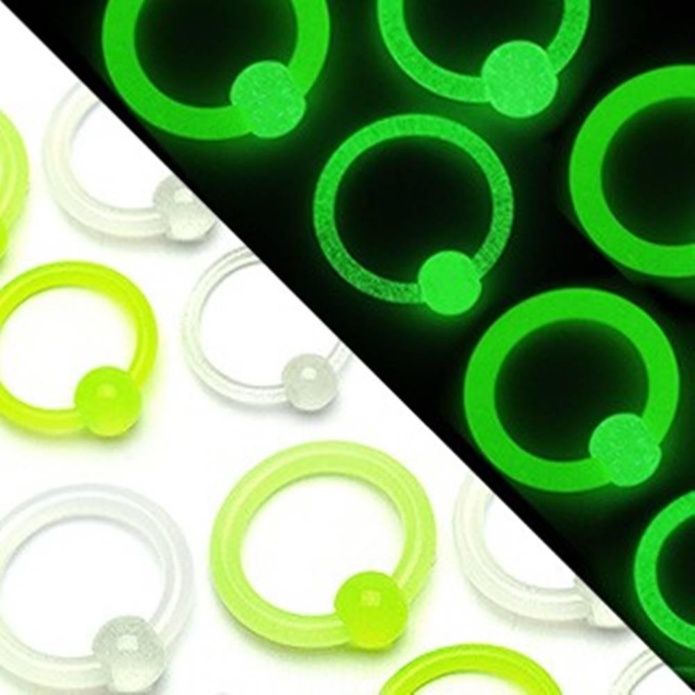 Šperky eshop Piercing krúžok gulička, svietiaca v tme - Rozmer: 1,6 mm x 12 mm x 4 mm, Farba piercing: Biela