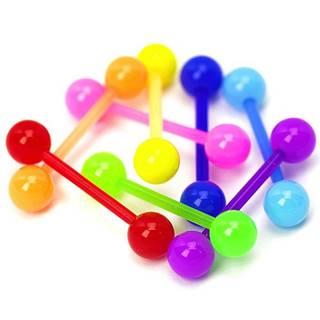 Akrylový piercing do jazyka, rôzne farby, lesklý - Rozmer: 16 mm x 5 mm, Farba piercing: Modrá