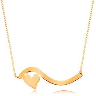 Náhrdelník v žltom 14K zlate - vlnka a malé symetrické srdiečko, jemná retiazka