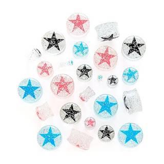 Piercing do ucha - hviezda na čírom plugu s trblietkami - Hrúbka: 10 mm, Farba: Čierna