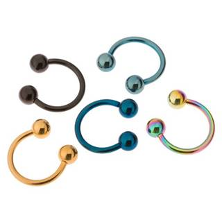 Piercing z ocele 316L, anodizovaný titánom, farebná podkova s guličkami - Priemer: 10 mm, Farba piercing: Modrá