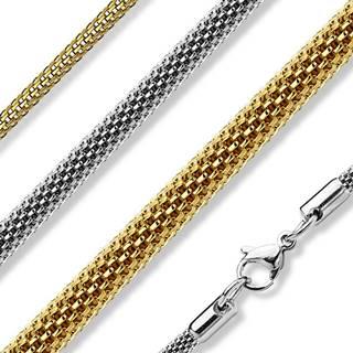 Retiazka z chirurgickej ocele, dutý valček z husto pletených článkov - Hrúbka: 2 mm, Farba: Zlatá